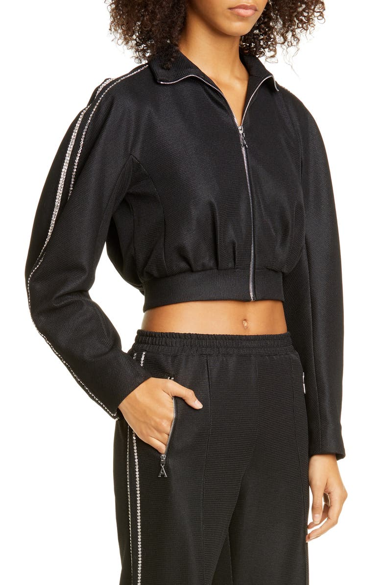 AREA Crystal Trim Crop Track Jacket, Main, color, BLACK