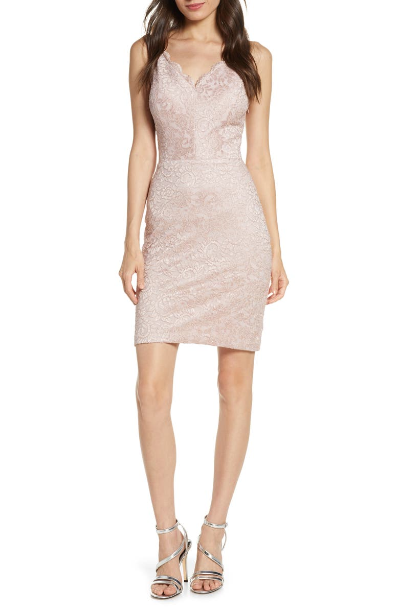 MORGAN & CO. Lace Body-Con Dress, Main, color, MAUVE/ NUDE