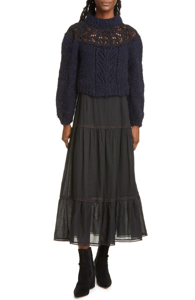 SEA Emma Mixed Media Long Sleeve Maxi Dress, Main, color, 400