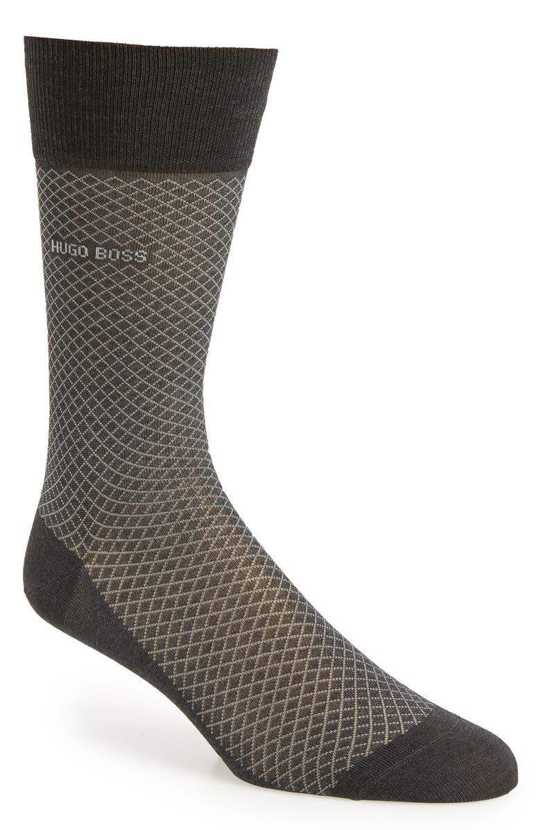 BOSS Dean Diamond Dress Socks, Main, color, GREY