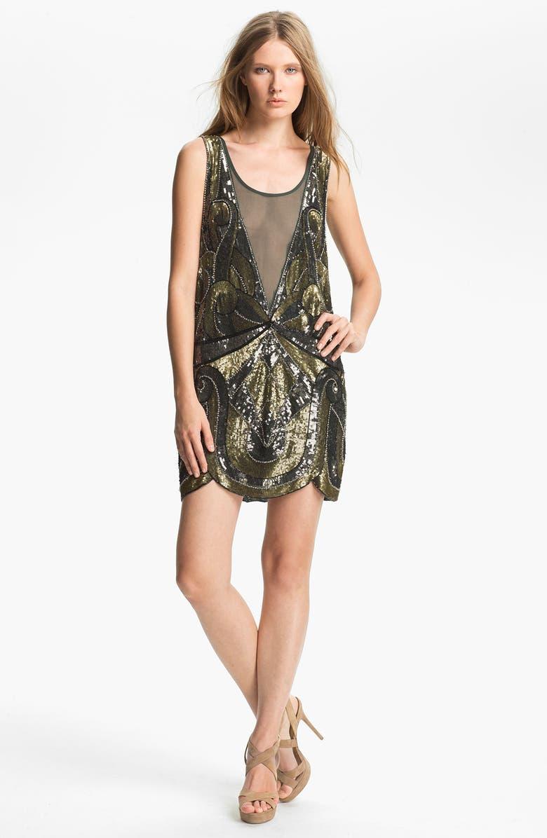 HAUTE HIPPIE Embellished Tank Dress, Main, color, EVERGREEN/ GUNMETAL