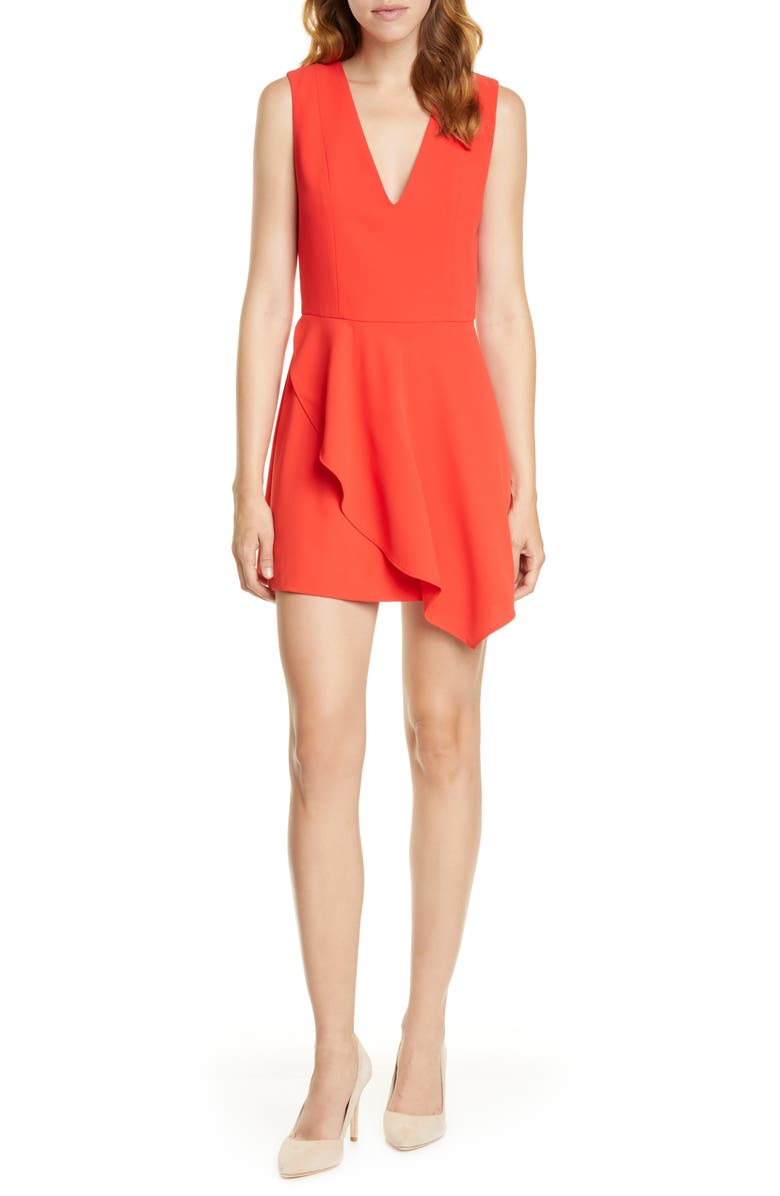 ALICE + OLIVIA Callie Asymmetrical Minidress, Main, color, CHERRY