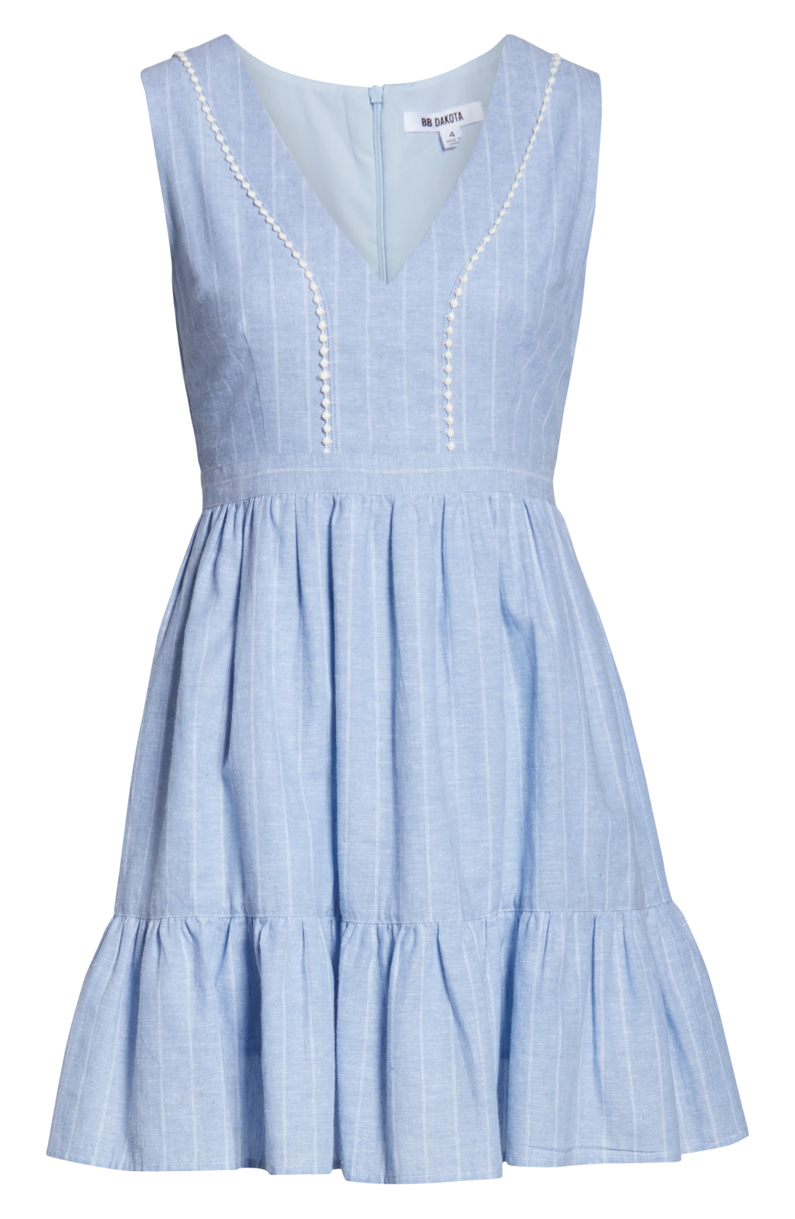 ,                             It's a Date Linen & Cotton Sundress,                             Alternate thumbnail 7, color,                             CHAMBRAY