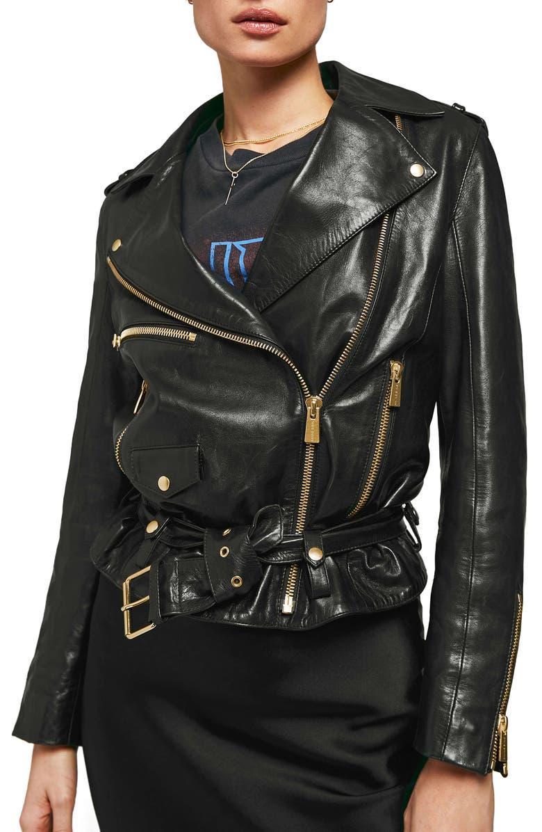 ANINE BING Vintage Leather Jacket, Main, color, 001