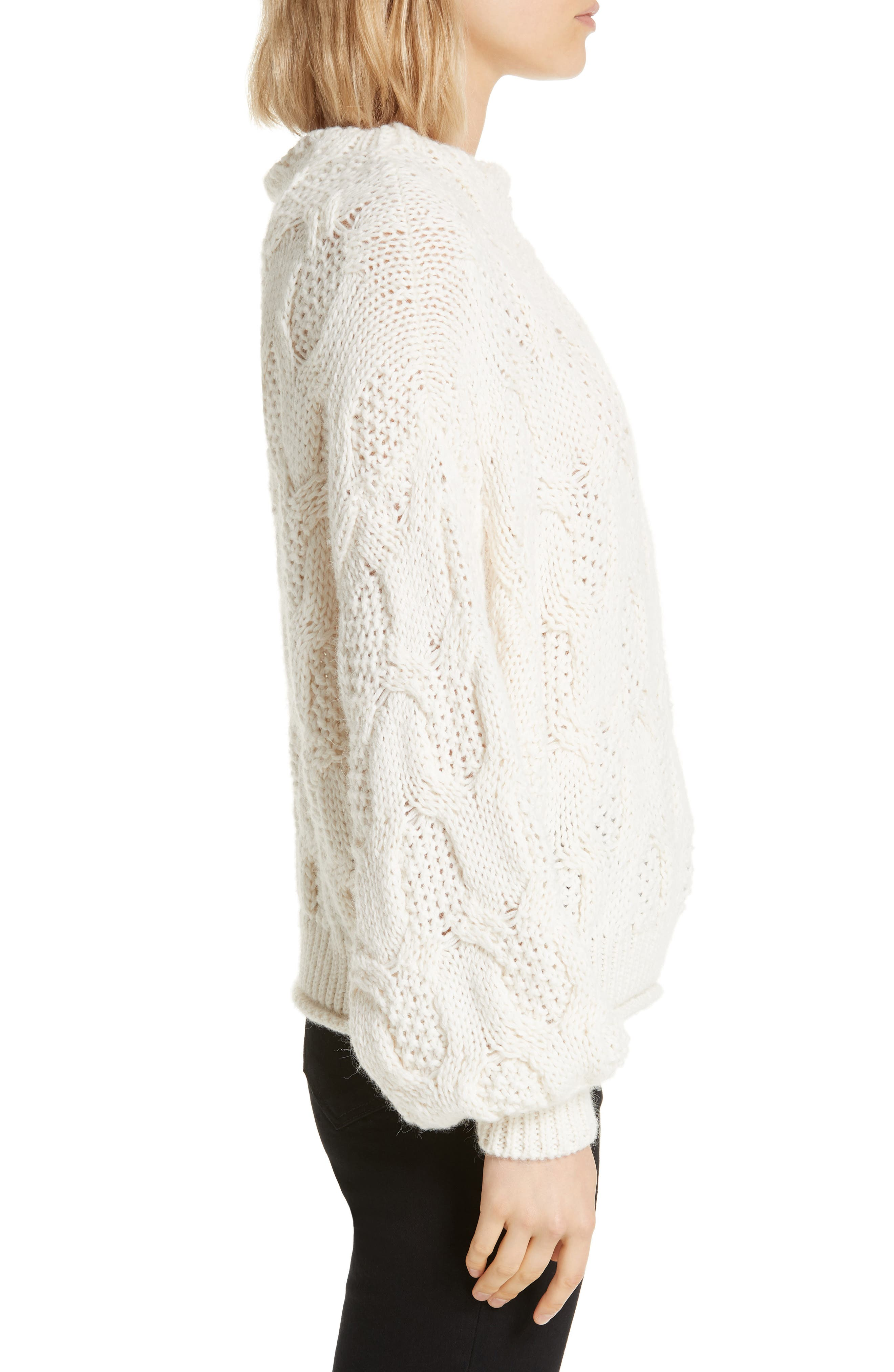 ,                             Cable Knit Alpaca Wool Blend Sweater,                             Alternate thumbnail 3, color,                             900