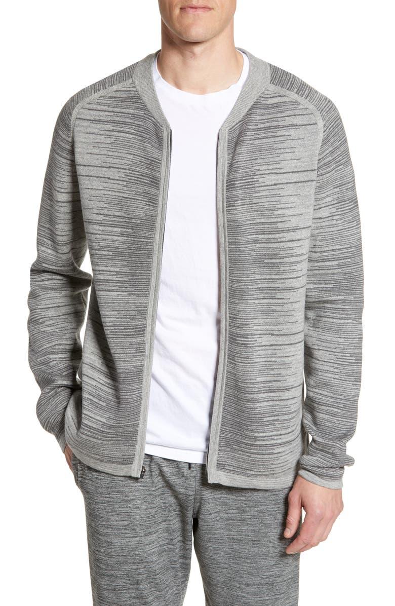 ZELLA Melange Zip Sweater, Main, color, GREY ZINC MELANGE