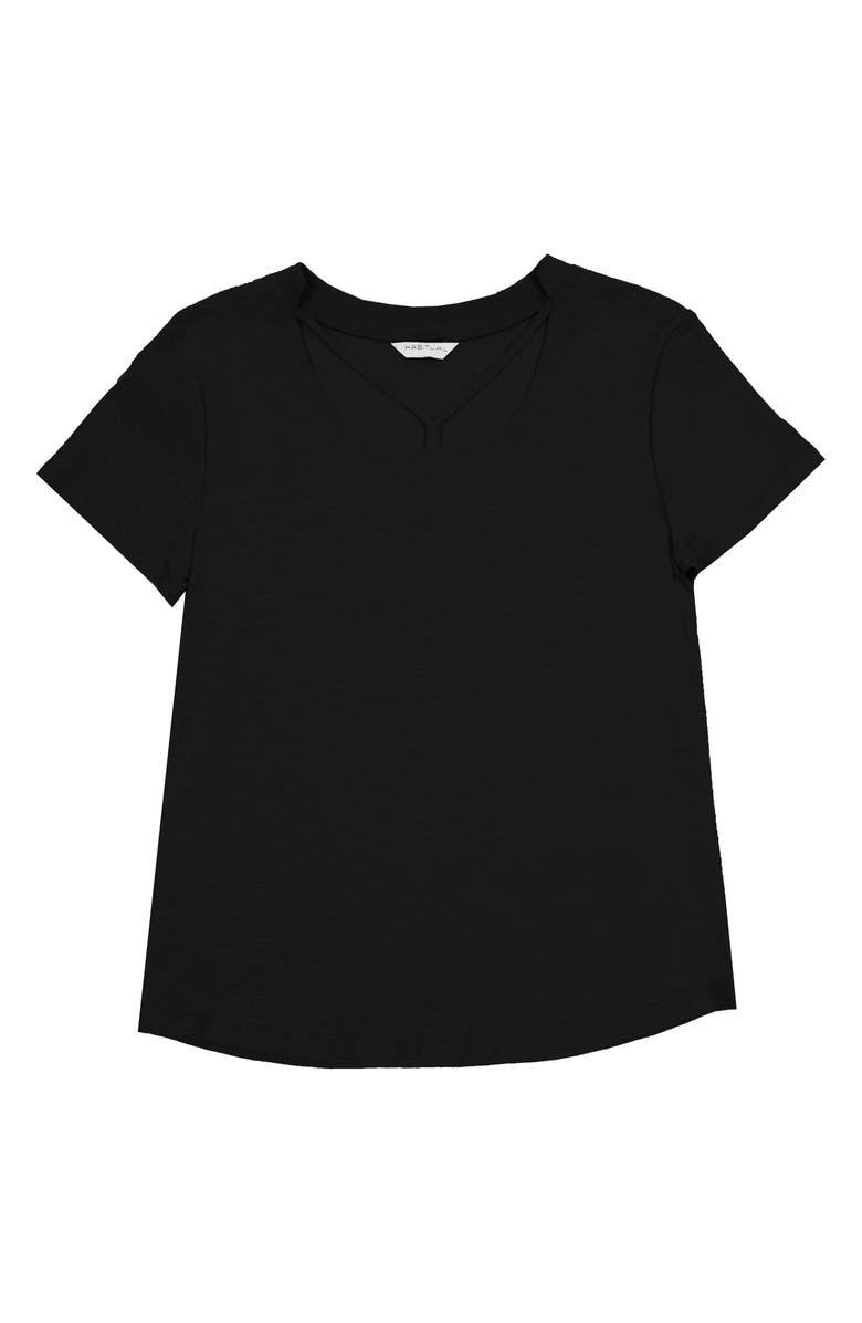 HABITUAL GIRL Trista Strappy Front Tee, Main, color, BLACK