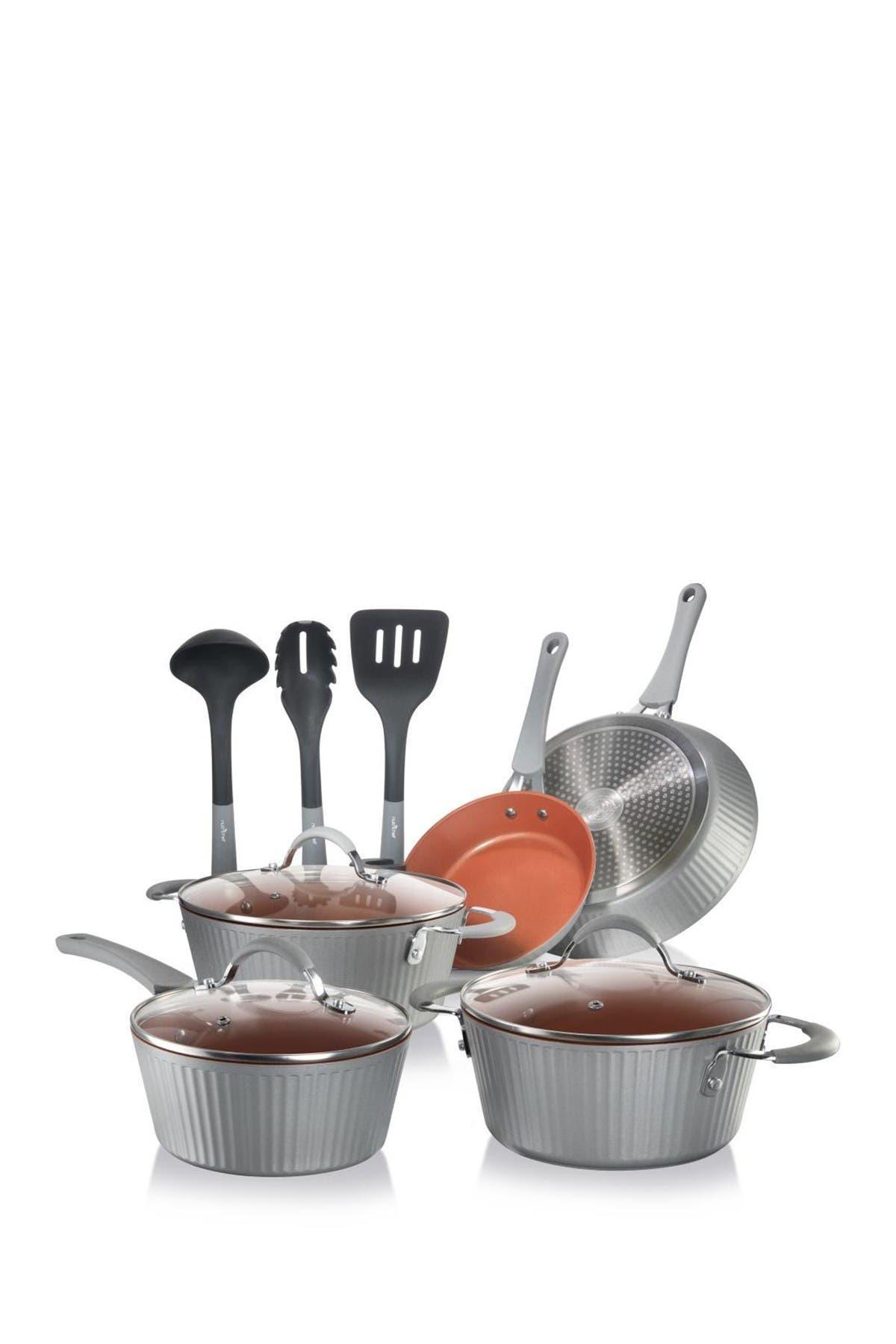 Image of NutriChef Kitchenware Non-Stick Pots & Pans Set, Silver - 11-Piece Set