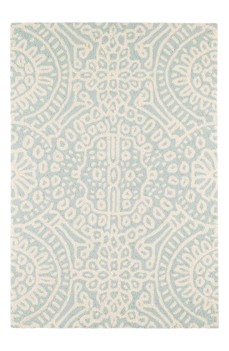 DASH & ALBERT Temple Micro Hooked Wool Rug, Main, color, SKY