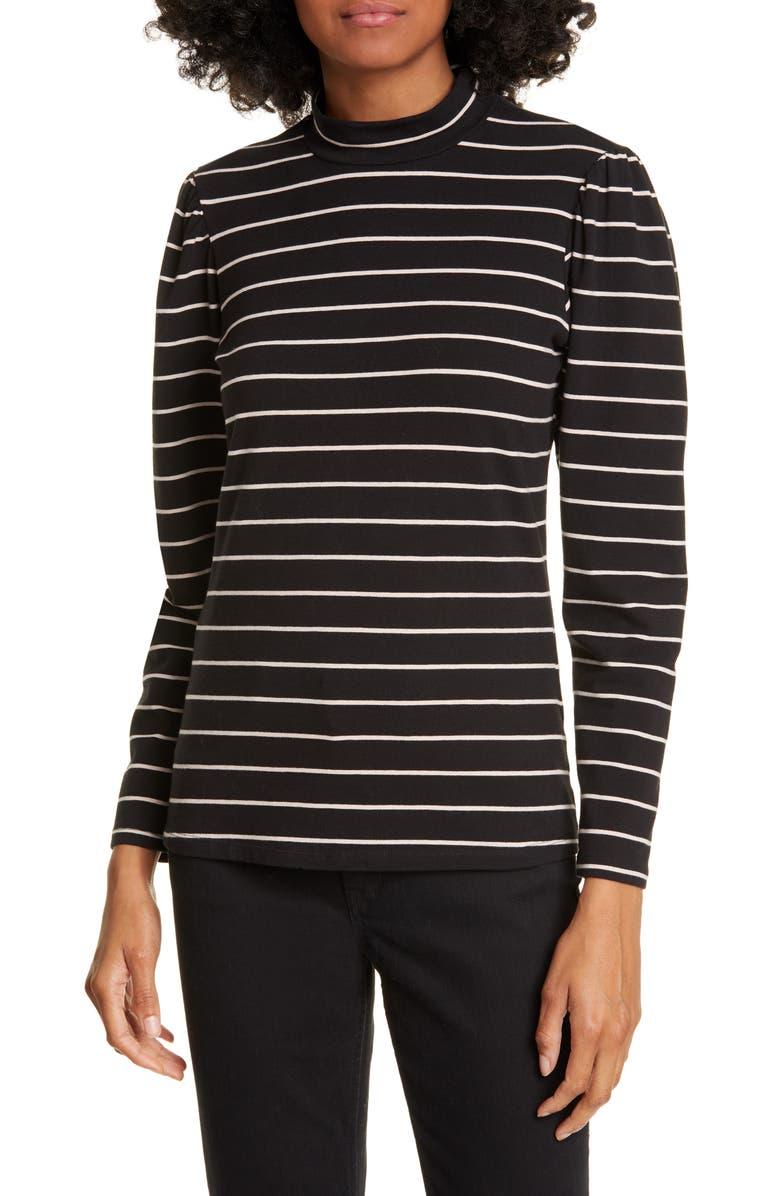 LA VIE REBECCA TAYLOR Stripe Jersey Top, Main, color, BLACK COMBO