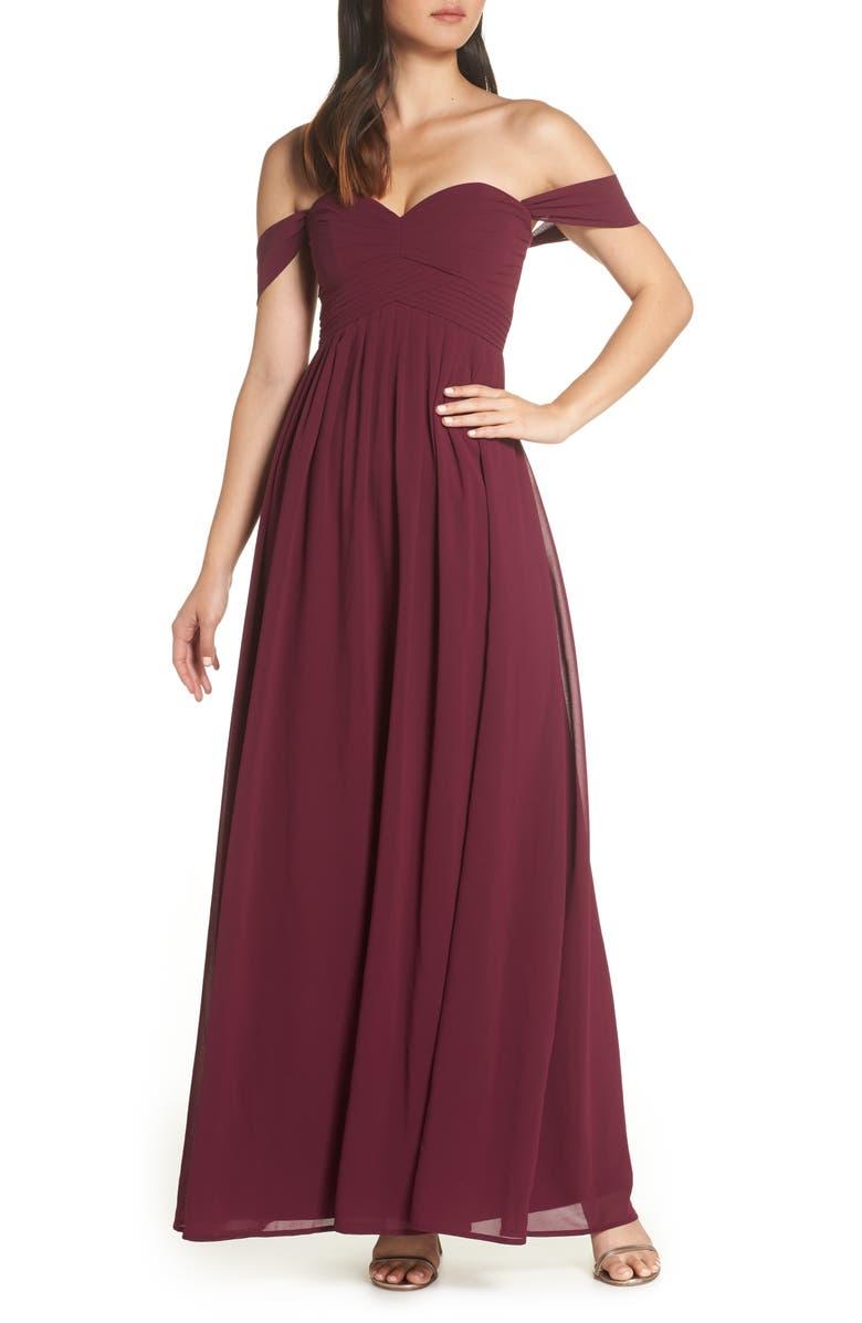 LULUS Convertible Neckline Chiffon Gown, Main, color, BURGUNDY