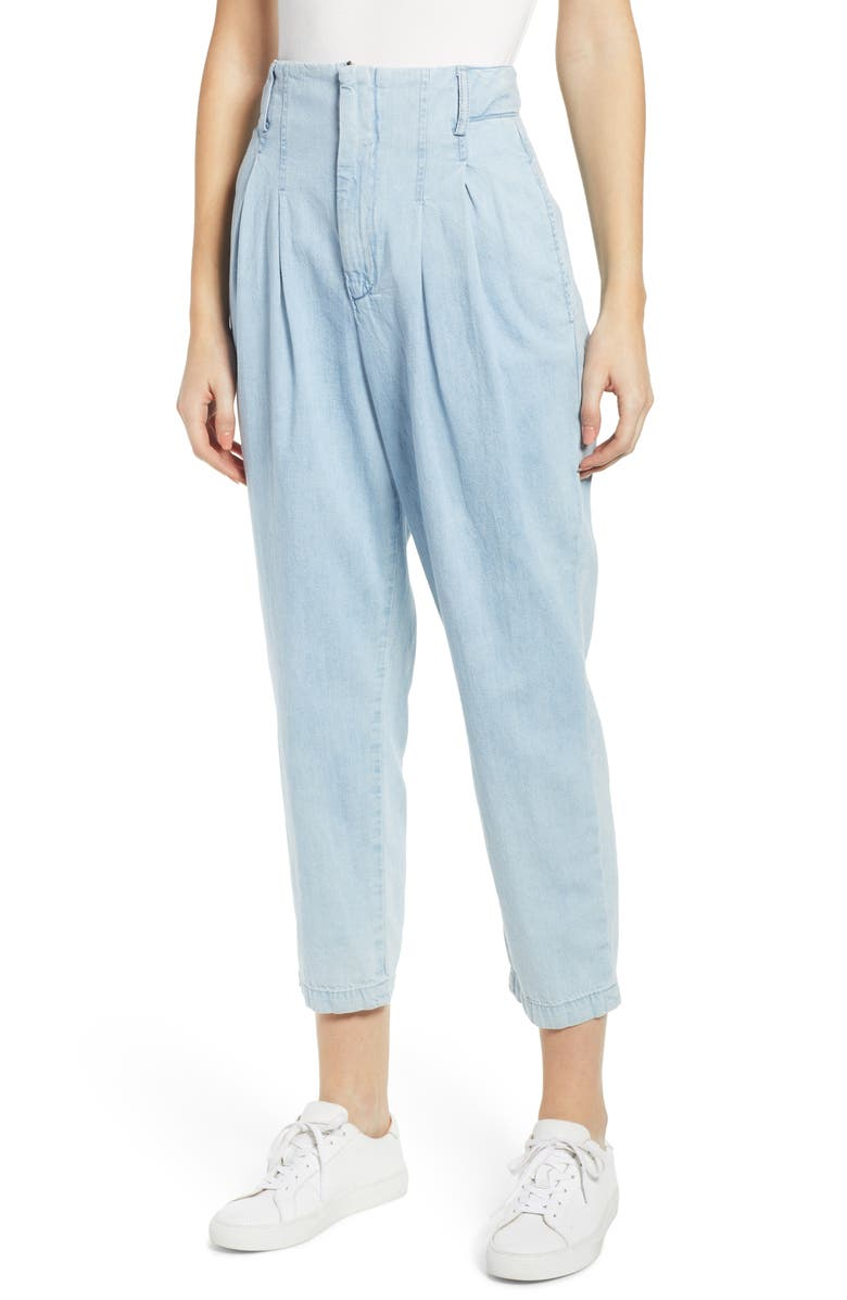AG Yasmeen Pleated Crop Trousers, Main, color, DIVINE BLUE