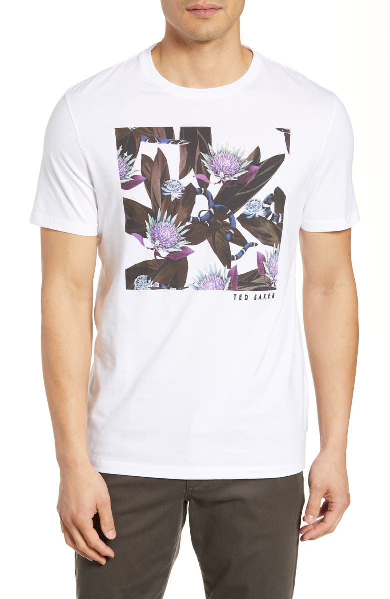 TED BAKER LONDON Trim Fit Floral Graphic T-Shirt, Main, color, WHITE