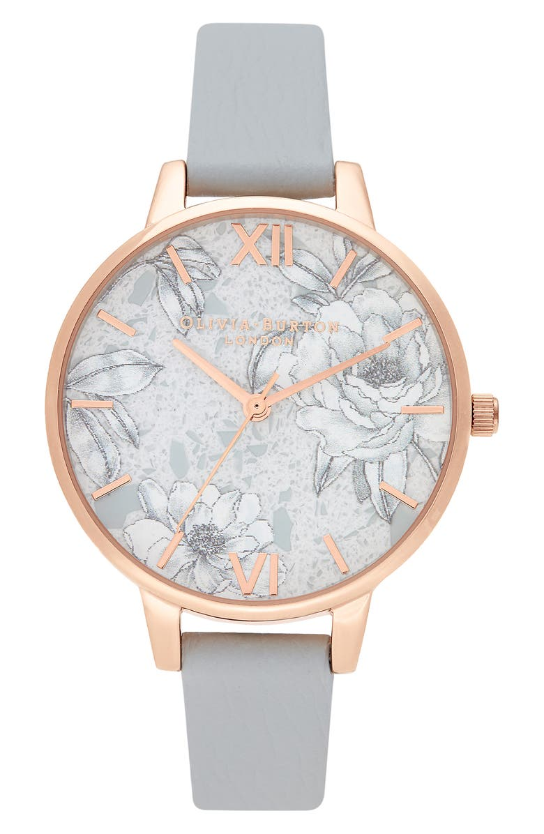 OLIVIA BURTON Terrazzo Florals Faux Leather Strap Watch, 38mm, Main, color, GREY/ BLUSH FLORAL/ ROSE GOLD