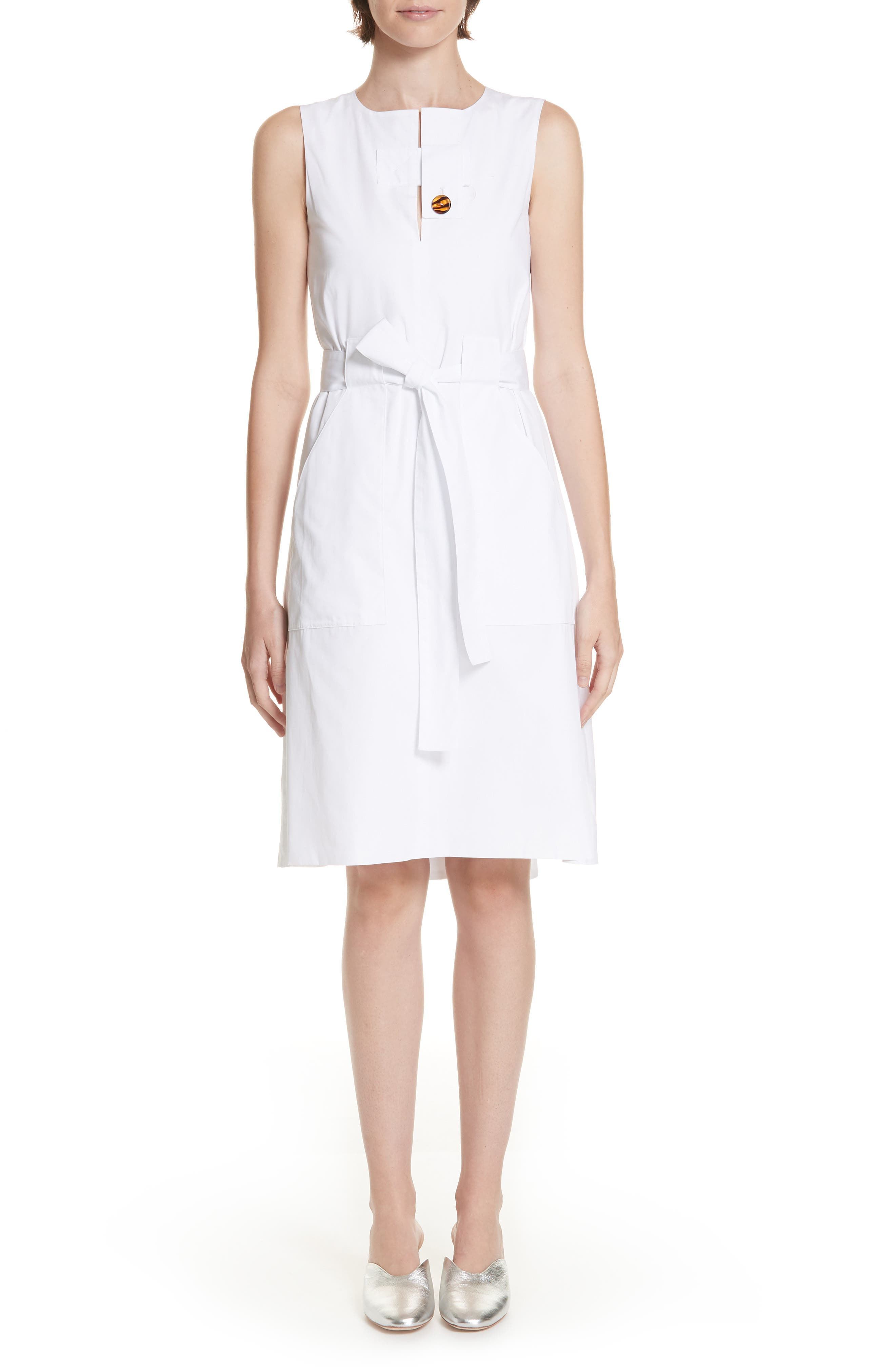 Rosetta Getty Belted Cotton Poplin Dress