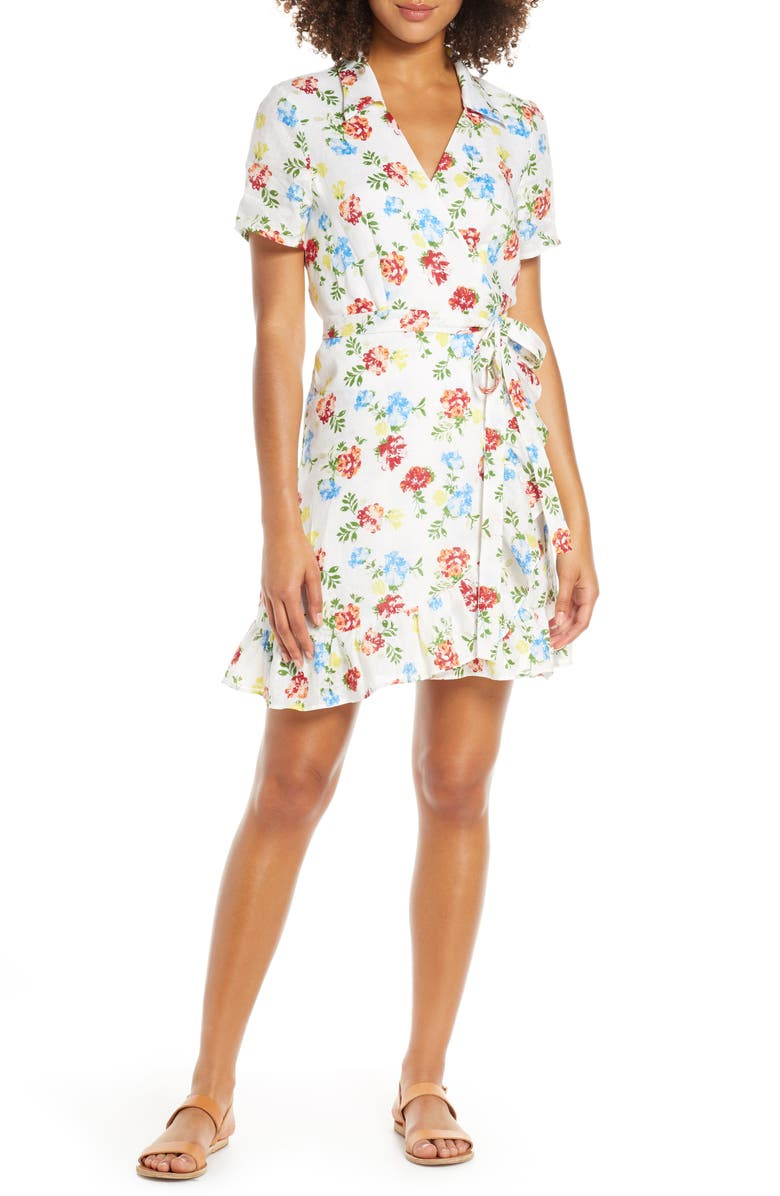 CHARLES HENRY Floral Ruffle Collared Linen Wrap Minidress, Main, color, WHITE-RED-BLUE FLORAL