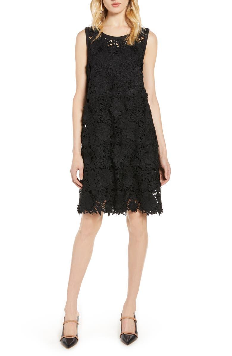 HALOGEN<SUP>®</SUP> Lace Shift Dress, Main, color, BLACK