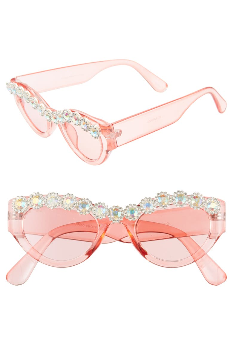 RAD + REFINED 50mm Chunky Crystal Embellished Sunglasses, Main, color, PINK / CRYSTAL