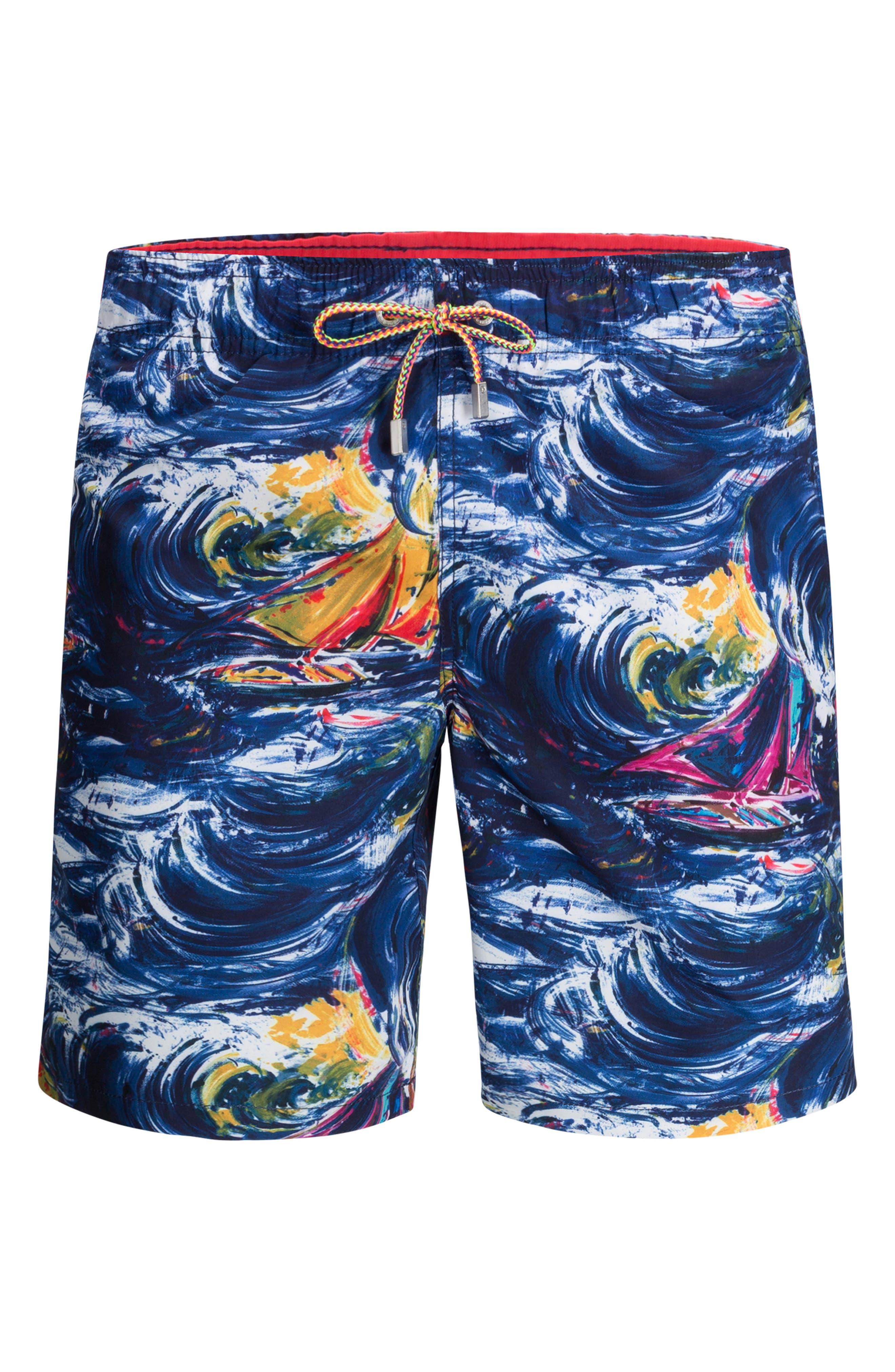 Waves swirl over sleek swim trunks that have a comfortable adjustable waist and pockets to stash your stuff. Style Name: Bugatchi Novelty Print Swim Trunks. Style Number: 6185971. Available in stores.