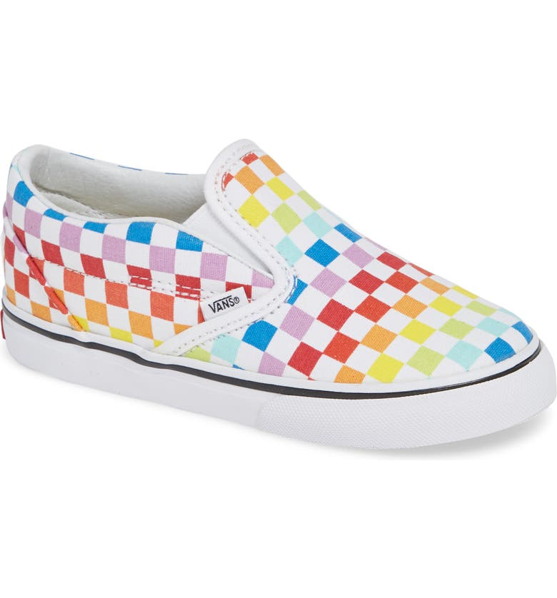 VANS Classic Checker Slip-On, Main, color, RAINBOW/ WHITE