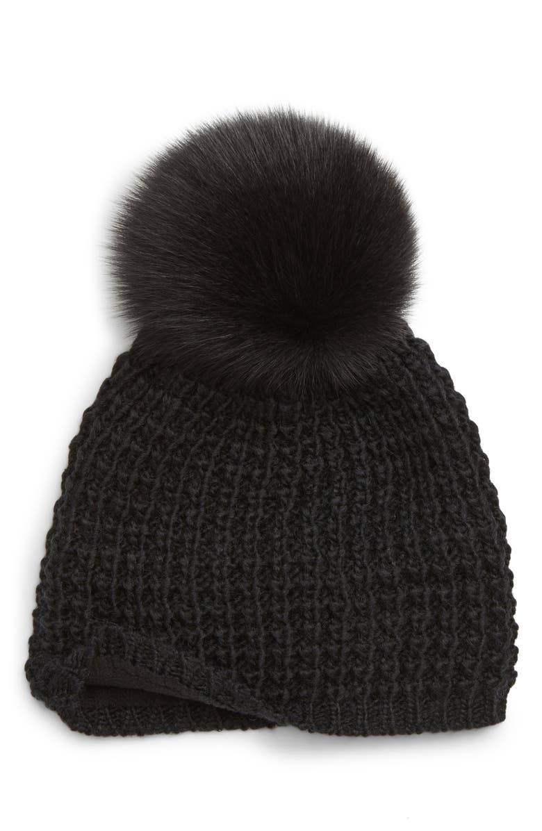 KYI KYI Genuine Fox Pompom Hat, Main, color, BLACK