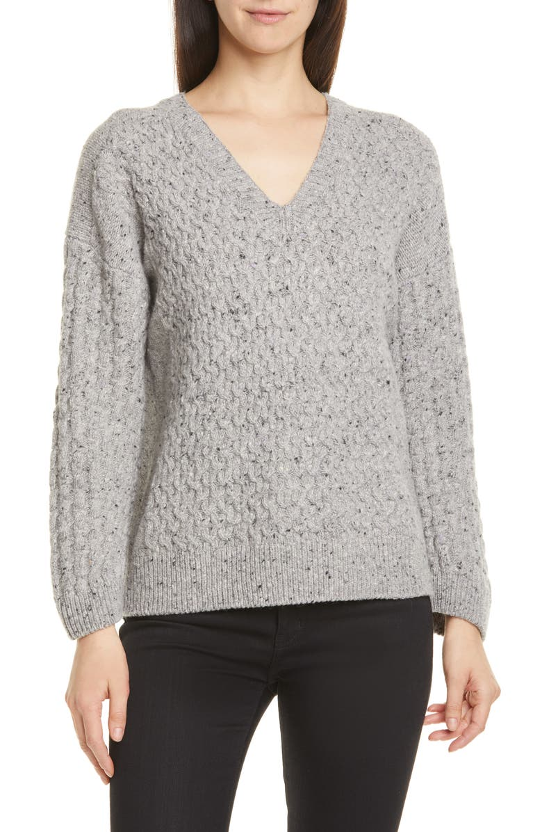 VINCE Mini Cable Knit V-Neck Merino Wool Blend Sweater, Main, color, LIGHT MIST