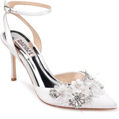Badgley Mischka Alice Embellished Pump- White