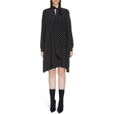 Balenciaga Bb Logo Pattern Long Sleeve Silk Dress, 6 FR - Black