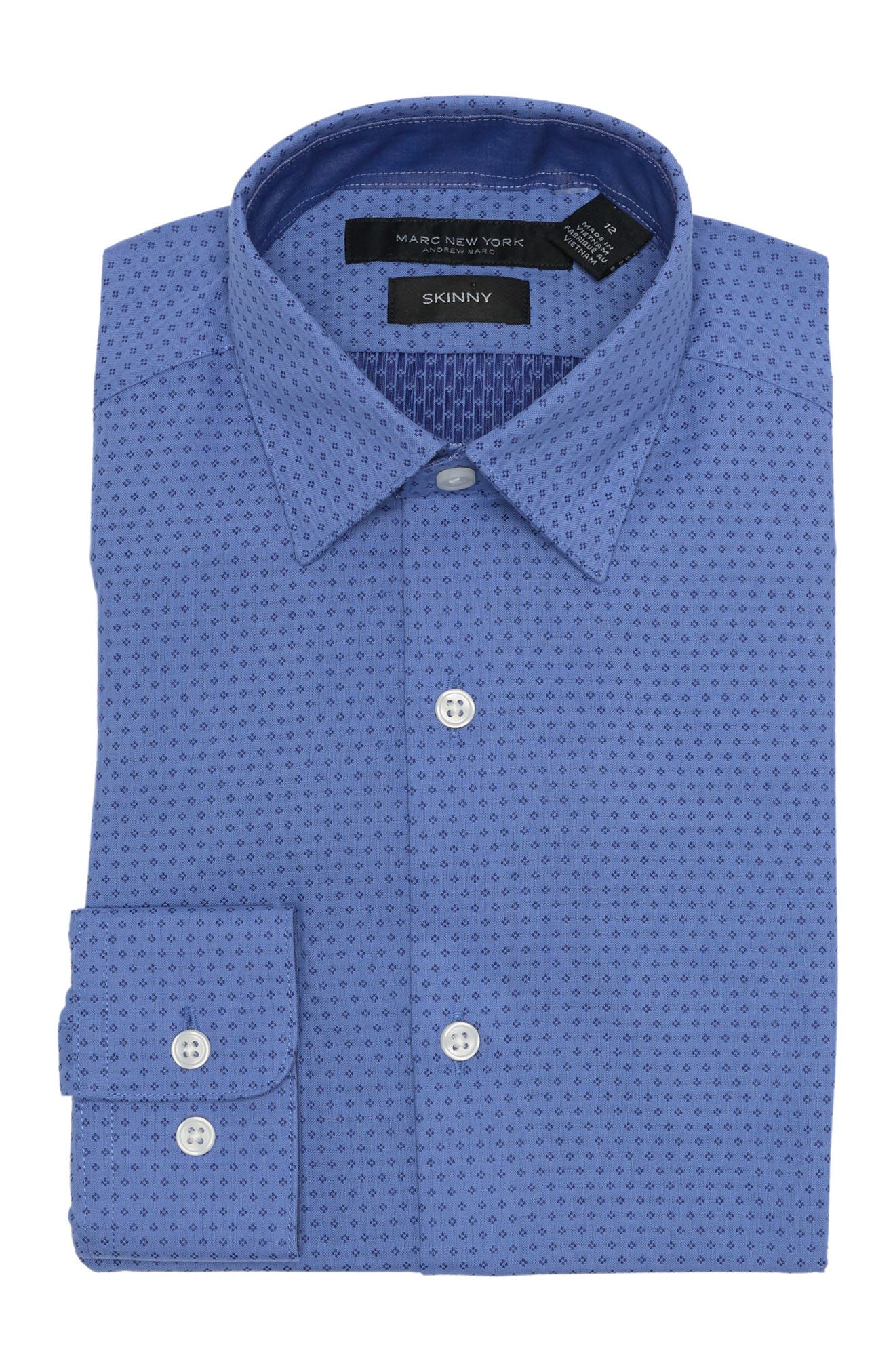 Image of Andrew Marc Blue Micro Print Woven Dress Shirt