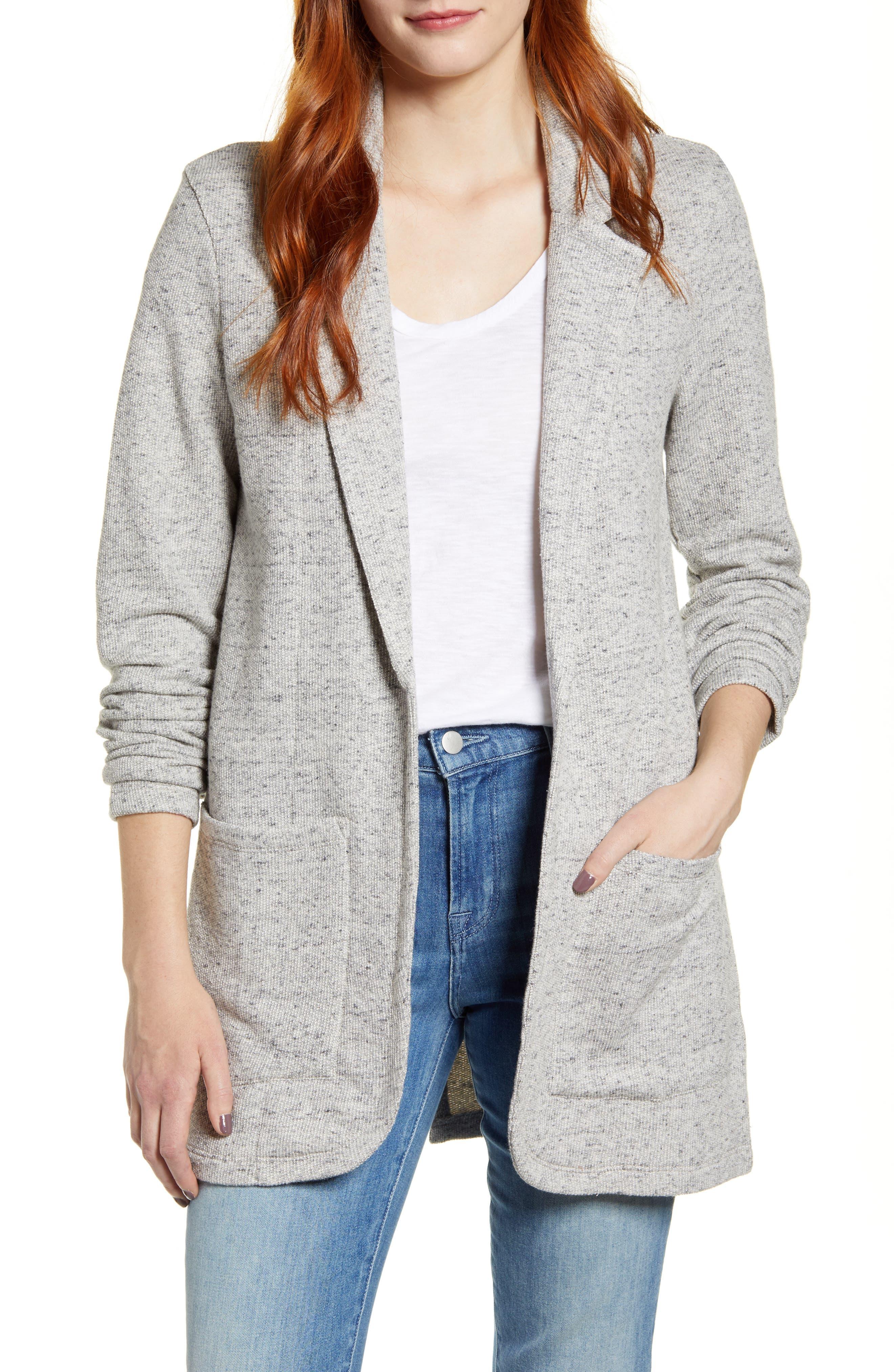 Caslon® Cotton Blend Boyfriend Blazer (Regular & Petite)