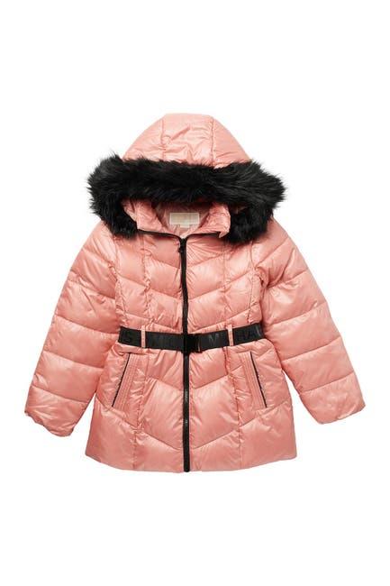 Image of Michael Kors FUR Belted Puffer Active Jacket