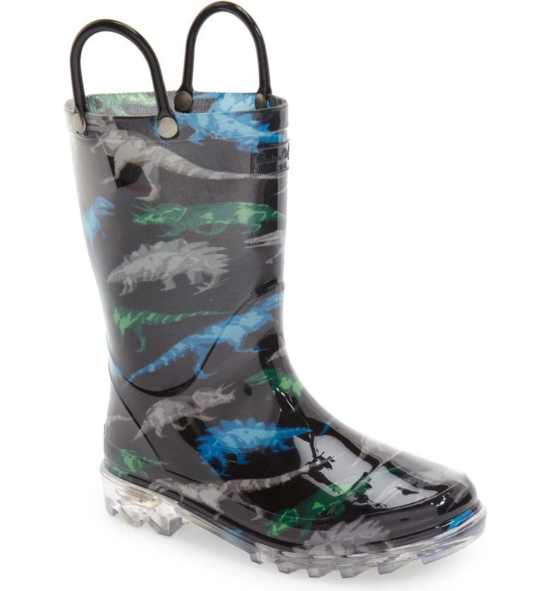 WESTERN CHIEF Dinosaur Friends Light-Up Waterproof Rain Boot, Main, color, 001
