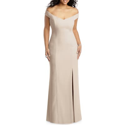 Plus Size Dessy Collection Off The Shoulder Crossback Gown, 0 (similar to 16W) - Beige