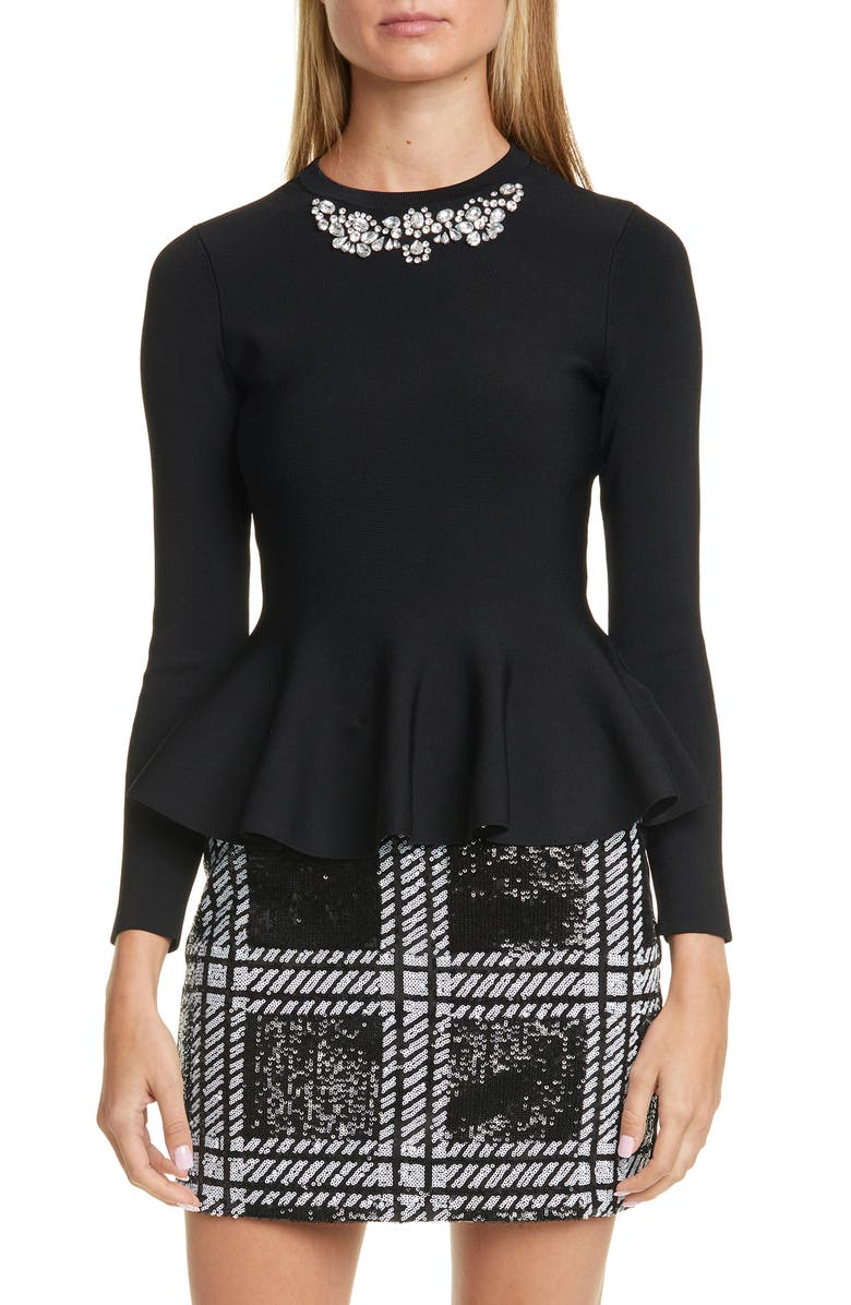 TED BAKER LONDON Embellished Peplum Sweater, Main, color, BLACK