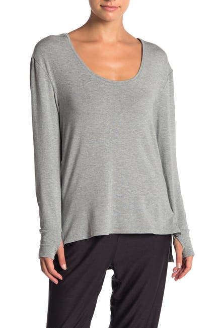 Image of French Connection Heather Long Sleeve High/Low Top