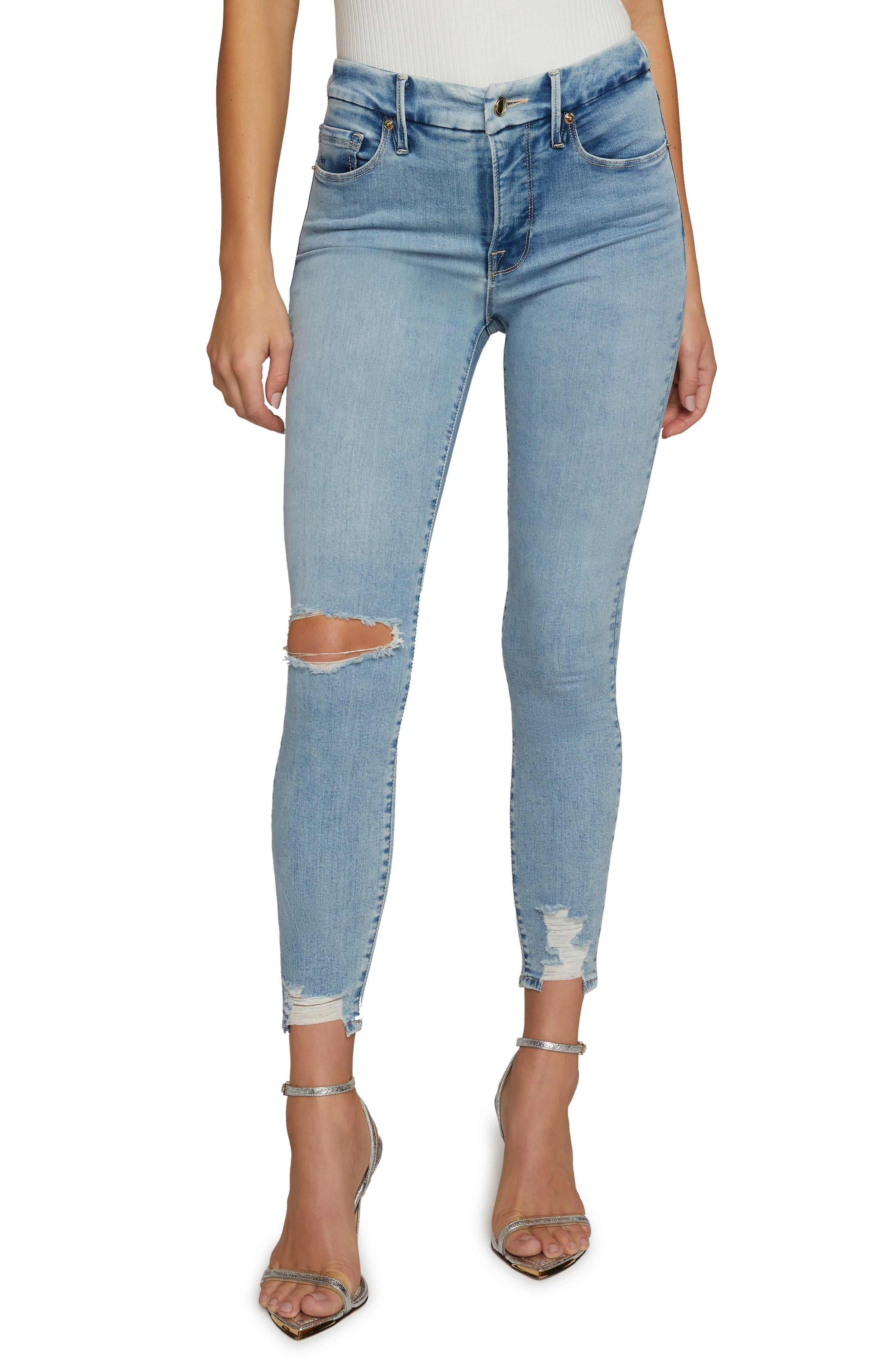 Women's Good American Good Legs Chewed Hem Skinny Jeans