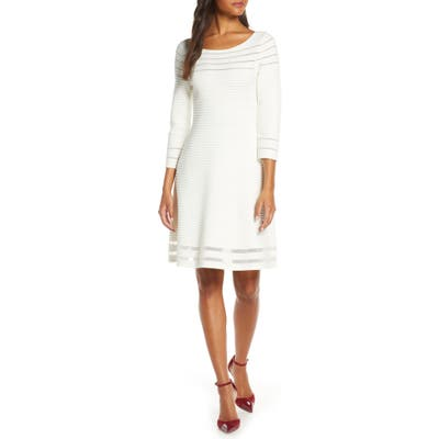Petite Eliza J Mesh Fit & Flare Dress, Ivory