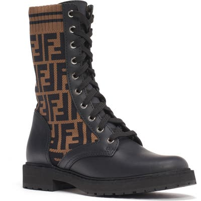 Fendi Rockoko Logo Sock Lace-Up Combat Boot - Black