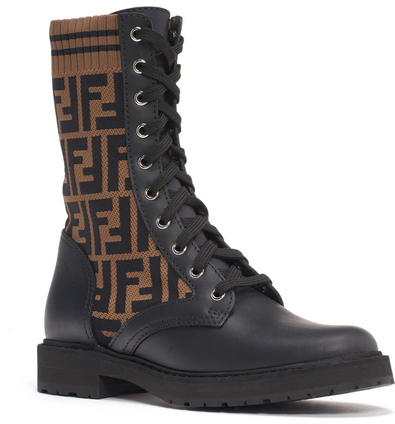 FENDI Rockoko Logo Sock Lace-Up Combat Boot, Main, color, BLACK/ BROWN