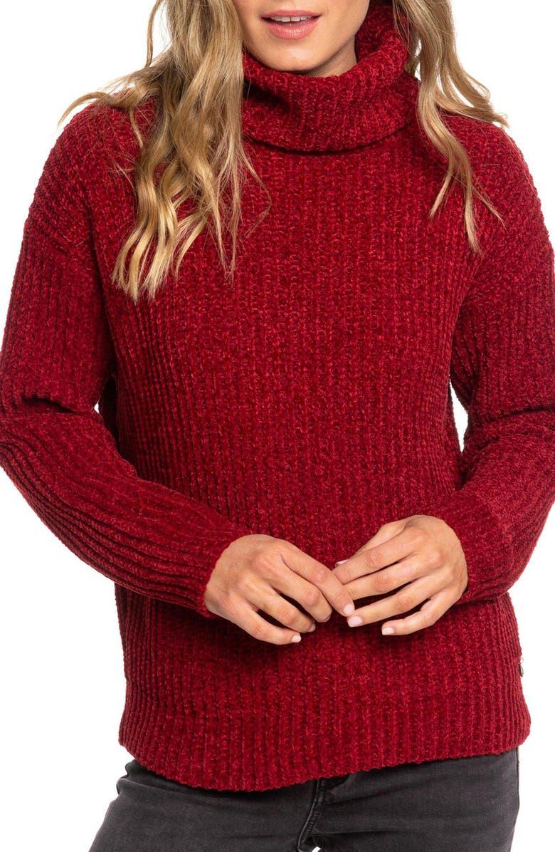 ROXY Velvet Morning Turtleneck Sweater, Main, color, RHUBARB