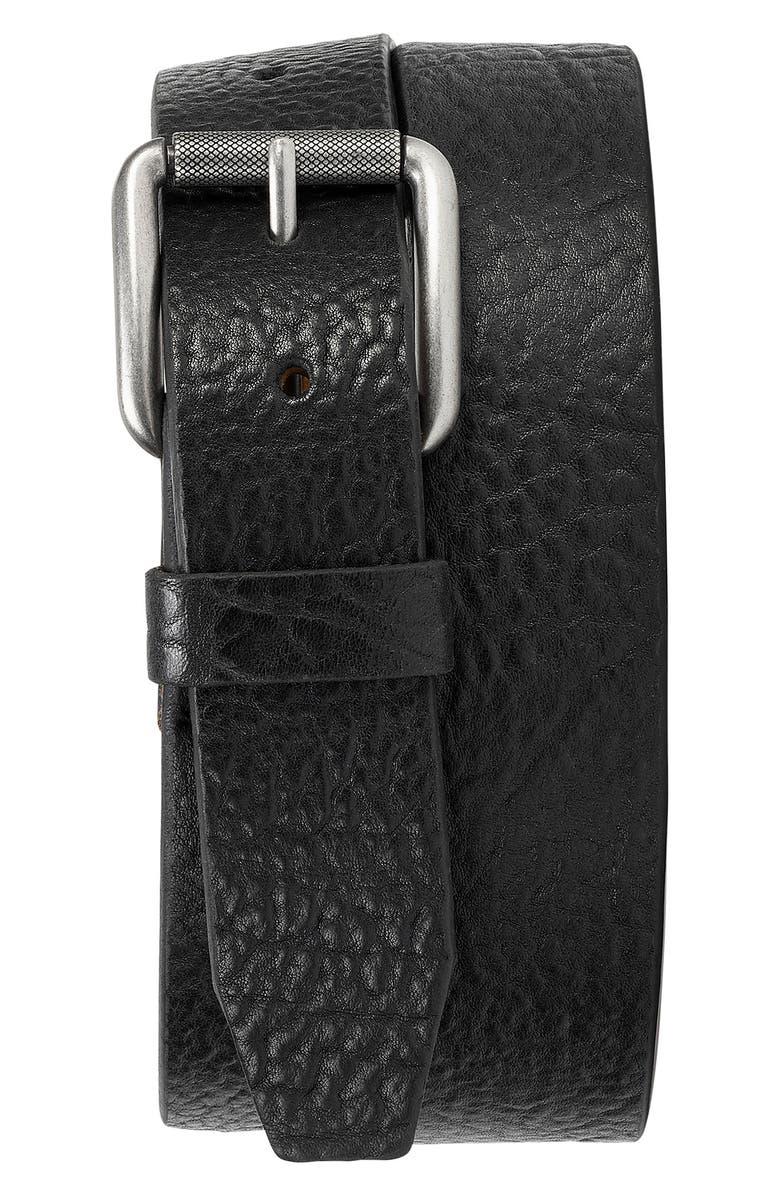 TRASK Cash Leather Belt, Main, color, BLACK