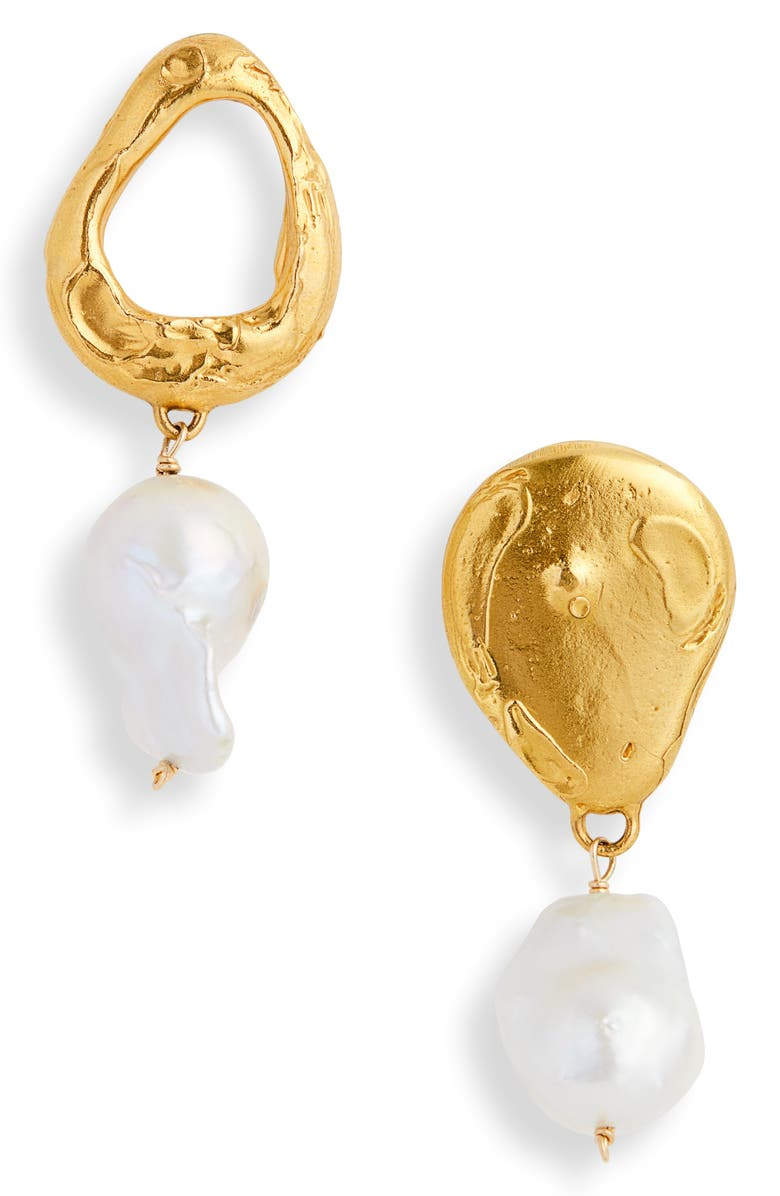 ALIGHIERI The Infernal Storm Freshwater Pearl Drop Earrings, Main, color, GOLD PLATED