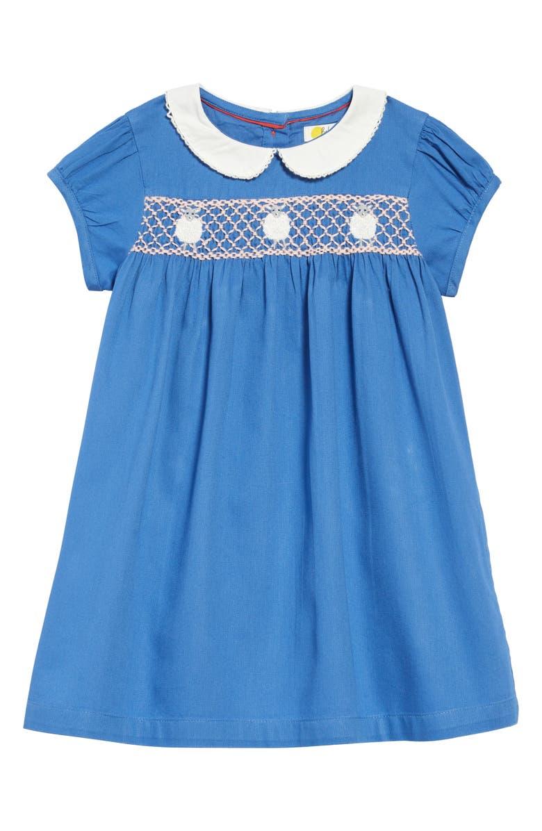 MINI BODEN Smocked Dress, Main, color, ELIZABETHAN BLUE/ LAMBS