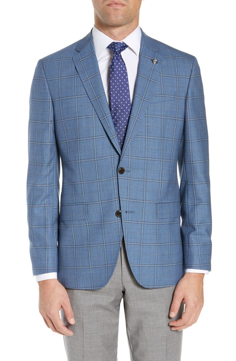 TED BAKER LONDON Jay Trim Fit Windowpane Check Wool Sport Coat, Main, color, 450