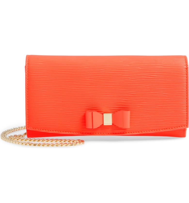 TED BAKER LONDON Zea Bow Matinee Leather Crossbody Clutch, Main, color, NEON ORANGE