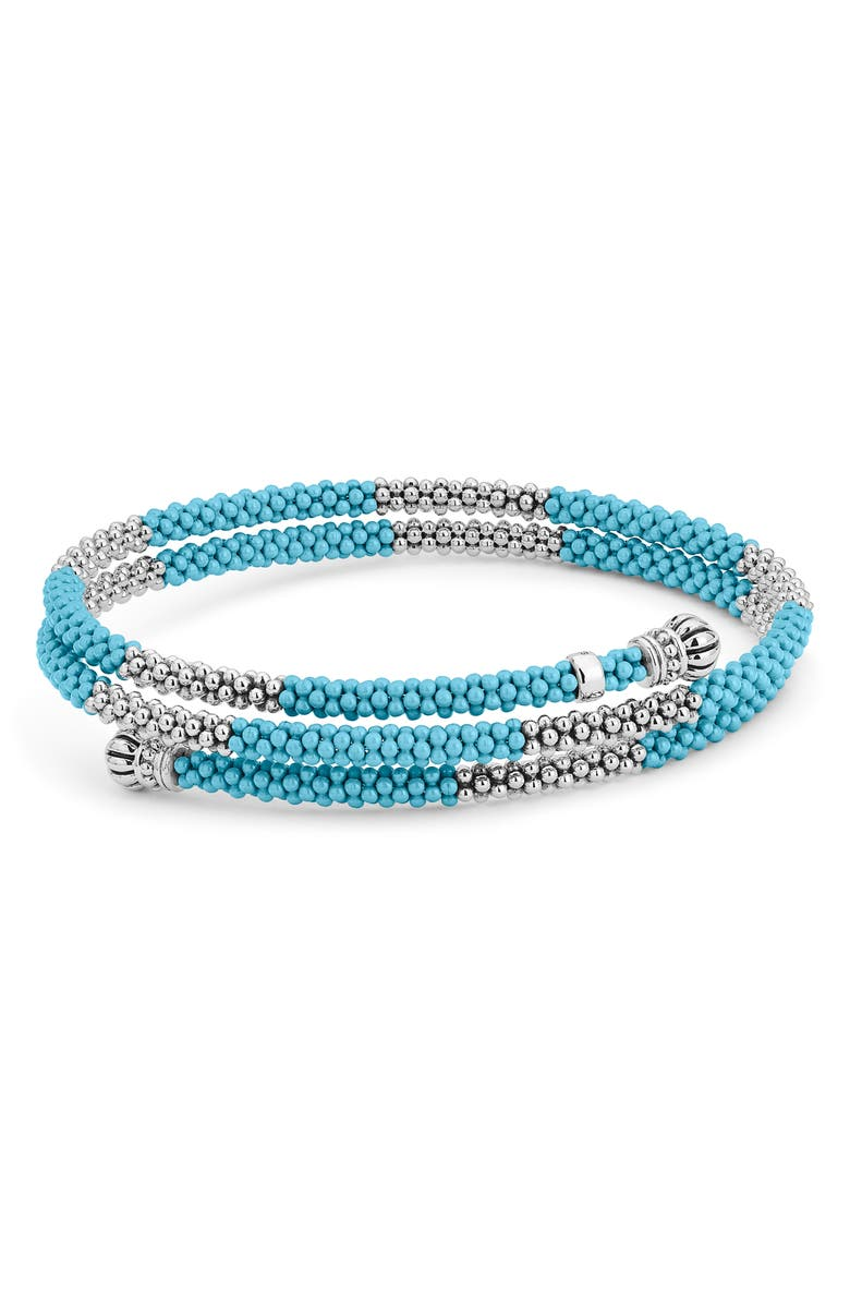 LAGOS Maya Blue Ceramic Caviar Beaded Bracelet, Main, color, SILVER/ BLUE