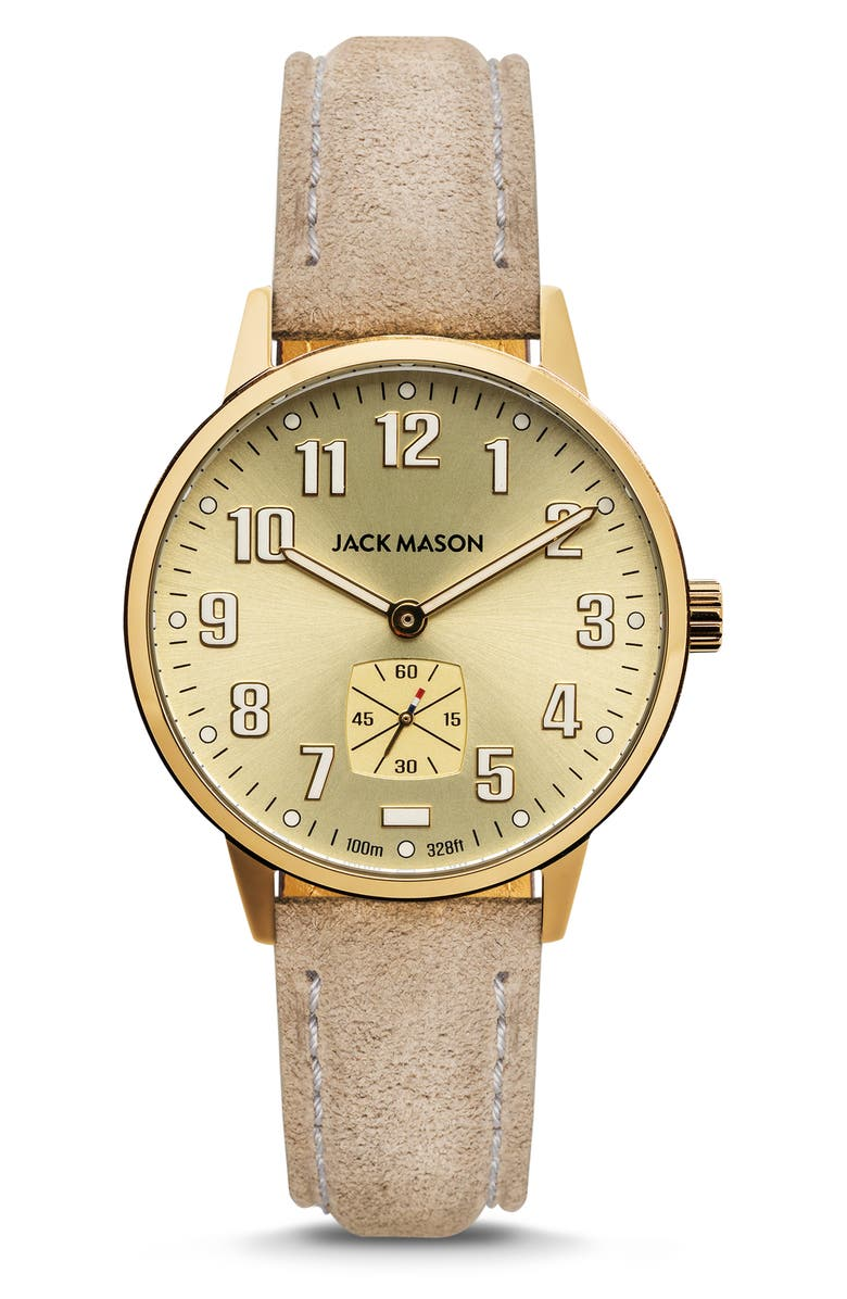 JACK MASON Field Sub Second Leather Strap Watch, 38mm, Main, color, LIGHT TAN/ GREY