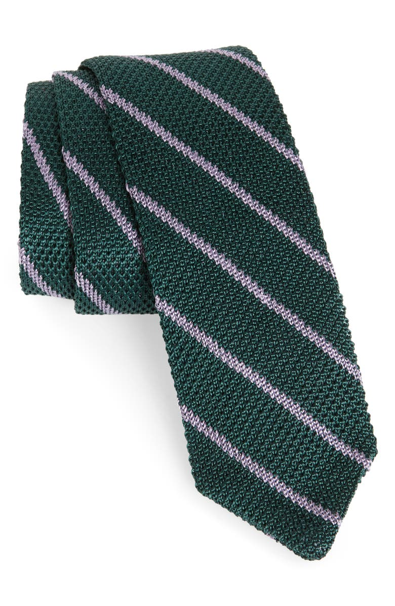 THE TIE BAR Stripe Knit Silk Tie, Main, color, 308