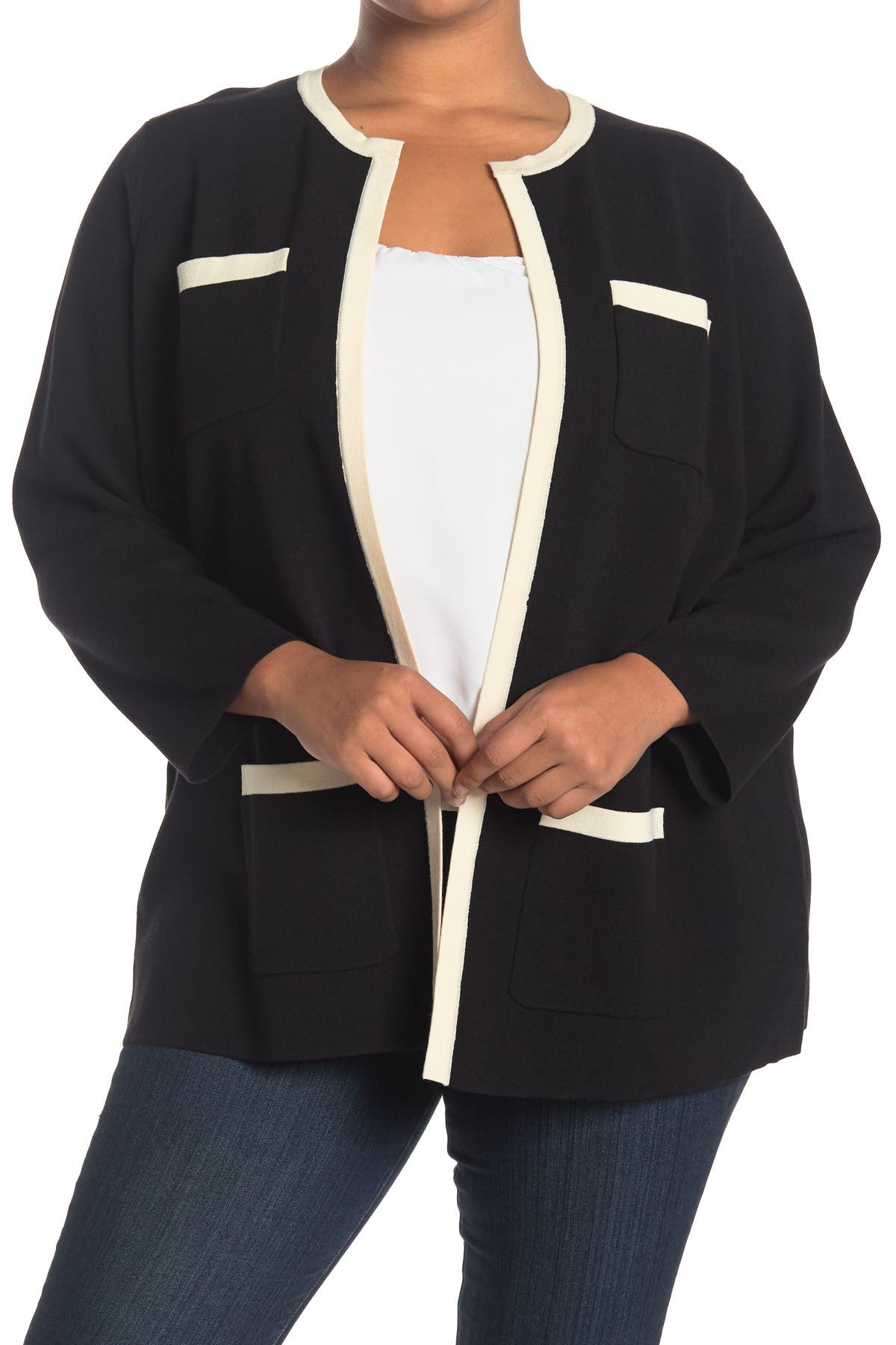 Image of Anne Klein Colorblock Cardigan