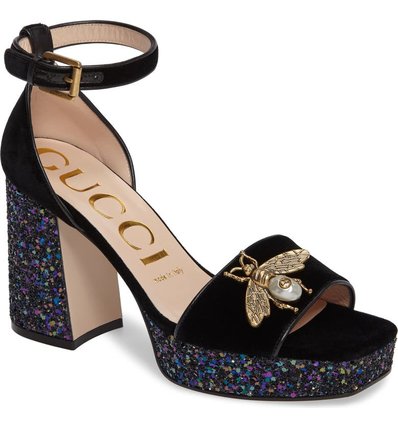 5f253a7fb Gucci Soko Glitter Bee Platform Sandal (Women) | Nordstrom